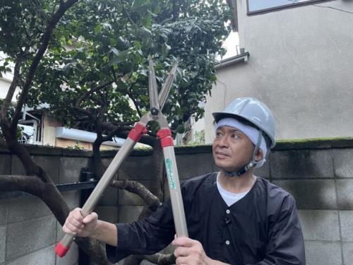 庭の木々の伐採に挑戦した城島茂 (C)日本テレビ